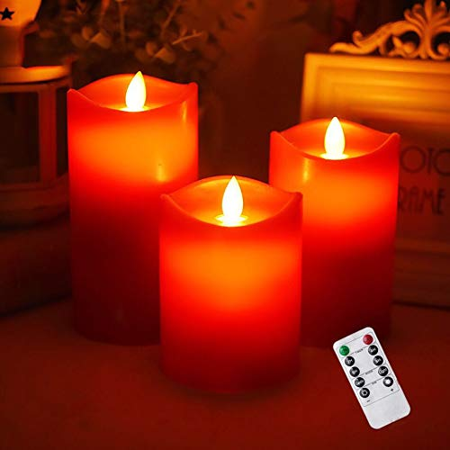 Flameless Candles,Red Flameless Candles,Flameless Candles Flickering,Wine Red Water Ripple Matte...