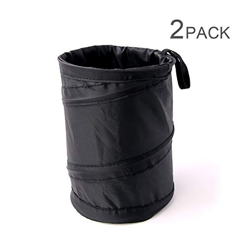 190t Polyester - Binboll 2pcs Polyester 190t Vehicle Pop up Leakproof Trash Can Mini Collapsible Universal Fit Car Hanging Bag Hide Unsightly Garbage Bag (Black)