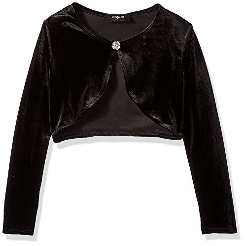Amy Byer Girls' Big 7-16 Velvet Shrug, Black, M -