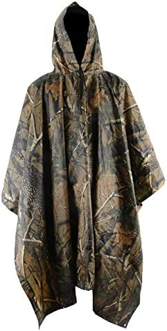 HOWON Military Multifunction Realtree Camouflage Waterproof Rain Poncho for Adults(Gift Emergency Blanket)
