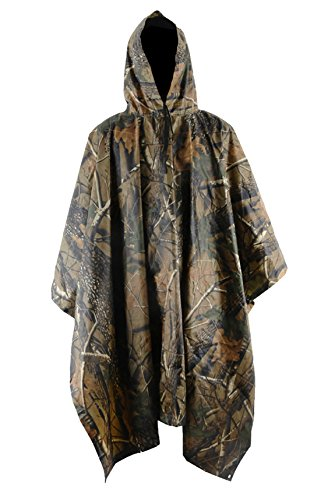 Camouflage Rain Poncho - Unisex Militray Waterproof Raincoat Multi-Functional Rain Poncho, Hooded Ripstop Festival Rain Poncho Camouflage Raincoat Hunting Camping Outdoor Activities Maple Leaf Camo One Size