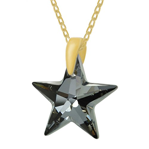 Made with Swarovski Crystas 24k Gold Plated Sterling Silver Black Star Pendant Necklace, 18