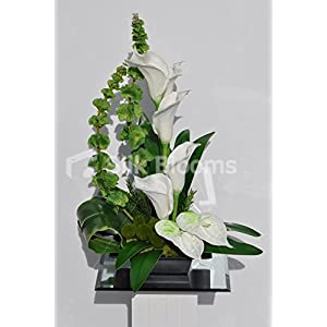 Modern Artificial White Calla Lily, Anthurium and Green Hydrangea Floral Table Arrangement 25