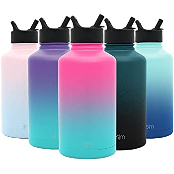 Simple Modern 64 oz Summit Water Bottle with Straw Lid - Hydro Vacuum Insulated Flask Double Wall Half Gallon Chug Jug - 18/8 Stainless Steel Ombre: Sorbet