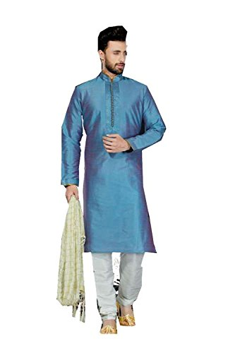 Jaipur Collections Mens Kurta Pajama Wedding Art Dupion Blue India Party Wear Set Of 3 by Jaipur Collections
