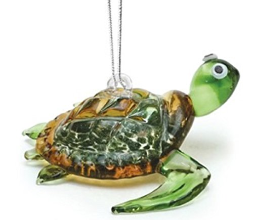 Dynasty Gallery Glass Green Baby Sea Turtle Hanging Ornament