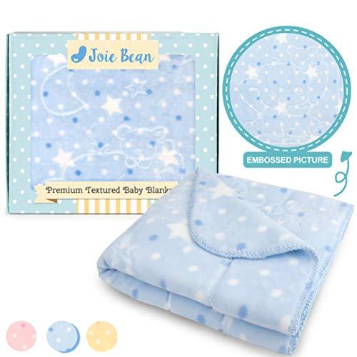JOIE BEAN Soft Plush Baby Blanket| Infant Newborn Fuzzy Blanket for Crib, Stroller, Travel, Couch, Bed| Fleece Toddler Reversible Blanket with Polka Dot| 34x39 (Blue - Elephant)