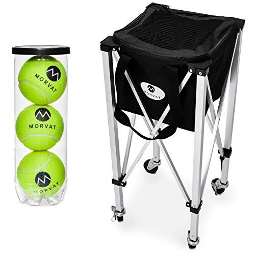 Morvat Tennis Ball Cart (Holds Up to 150 Balls), Tennis Ball Hopper Basket, Tennis Ball Basket, Tennis Accessories, Tennis Gift, Lightweight, Portable, Includes Carry Bag