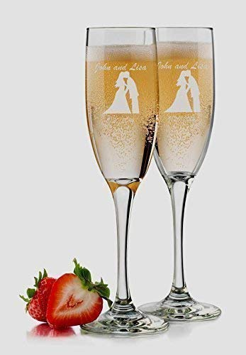 Bride and Groom Champagne Flutes - Set of 2 Glasses - 6 oz Personalized Custom Engraved - Monogram Mr and Mrs Toasting Couple Wedding Gift