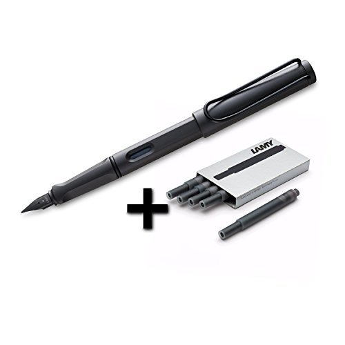 Lamy Safari Fountain Pen, Medium Nib + 5 Black Ink Cartridges (Matte Black)