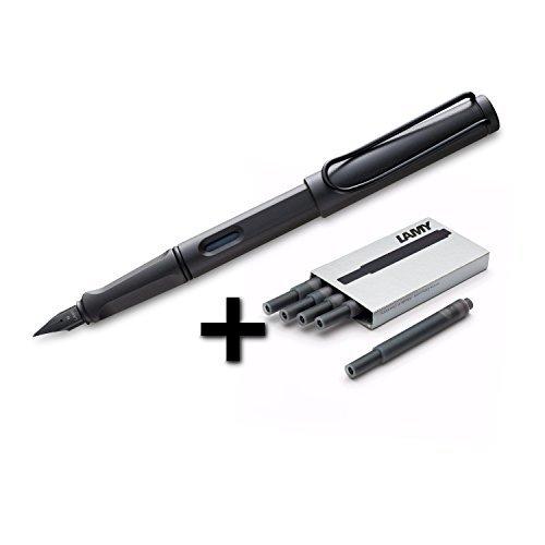 (Lamy Safari Fountain Pen, Medium Nib + 5 Black Ink Cartridges (Matte Black))