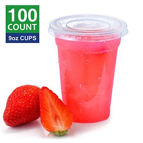 Eupako 9 oz Plastic Cups with Lids, 9 Ounce Clear Disposable Plastic Party Cups with Flat Lids, Cold Drink Cups Pack of 100