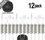 Lectronik 12+1 Lightning Cable Charger Protector | Micro USB Cord Phone Saver | Compatible iPhone MacBook PC/Computer Laptop Android Cell, Twist Cover Wire Charging Cables Protectors Accessories Gray