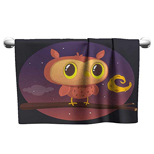 Baby Beach Towel Halloween Card Silhouette of owl with Large Eyes Sitting on a Branch Against a Full Moon and Starry Night Sky Camp Towel Pool Towel 8 x 24 Inch