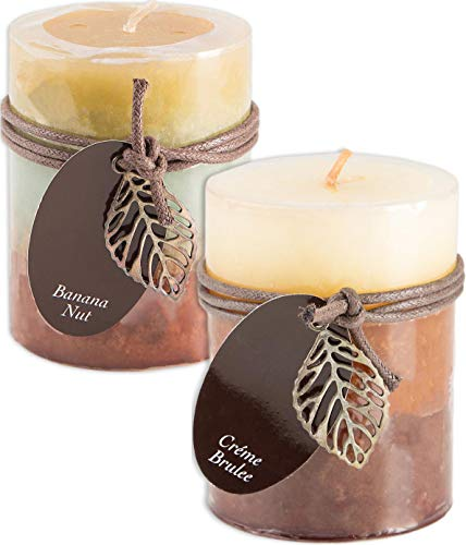 Decorative Pillar Candles - Fall Scented Candles Set Bundle of 2 Decorative Layered Pillar Candles 3 x 4 Inches (Creme Brulee and Banana Nut)