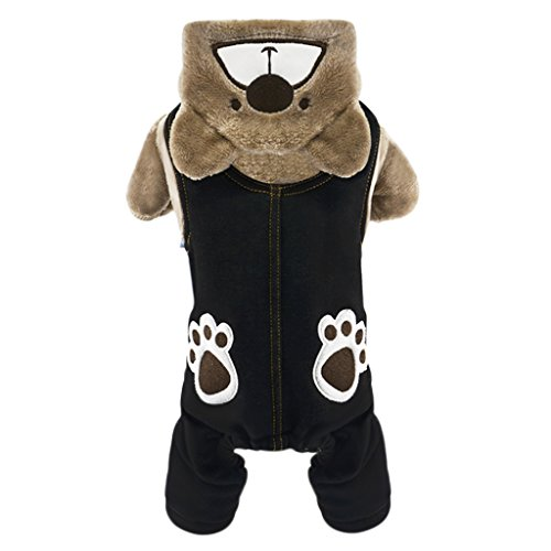 Stylish Cute Bear Paw Claw Pet Hoodie Coat T Shirt Winter Warm Soft Coral Fleece Puppy Dog Jacket Windproof Fashion Jeans Denim Overalls Pet Hooded Clothes Outfit Sweater Christmas Costume Apparel