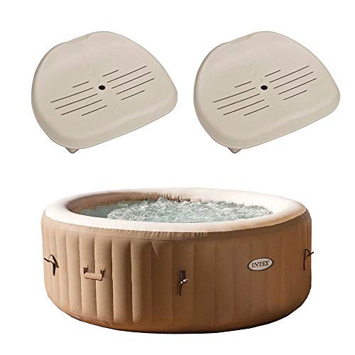 Intex PureSpa 4-Person Inflatable Bubble Jet Spa Portable Hot Tub, Tan | 28403E Removable Slip-Resistant Seat for Inflatable Pure Spa Hot Tub | 28502E (2 Pack)