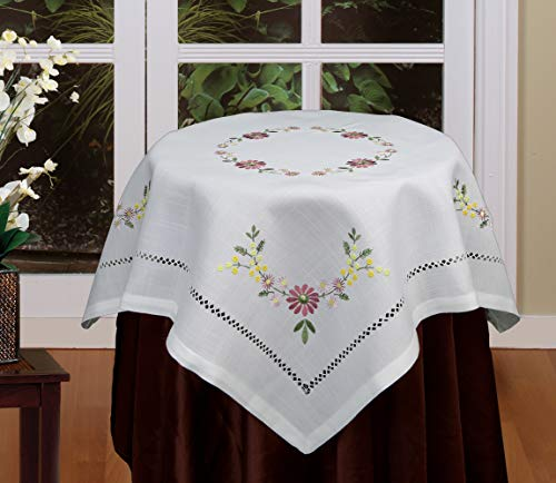 (Creative Linens Hemstitched Embroidered Daisy Flower Tablecloth 34
