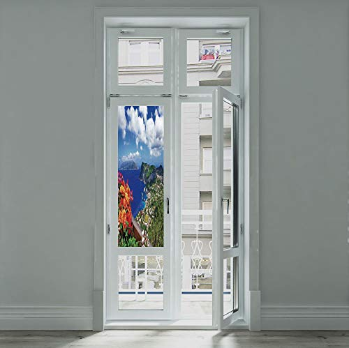 - C COABALLA The Visual Effect of Textured Glass and Stained Glass,Island,is Good for Long Year Under The Sunshine,Scenic Capri Island Italy Mountain Houses Flowers View,24''x70''