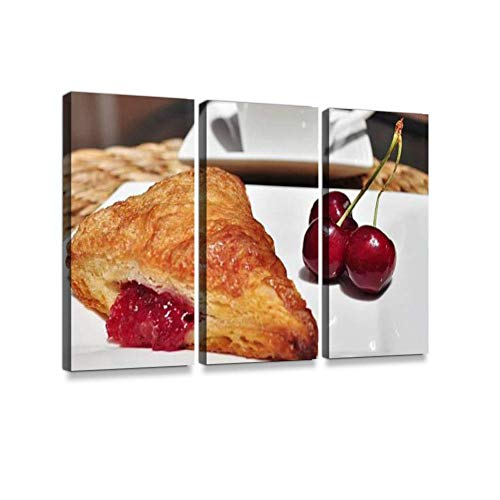 LanimioLOX French Pastry. Cherry Turnover.3 Pieces Print On Canvas Wall Artwork Modern Photography Home Decor Unique Pattern Stretched and Framed