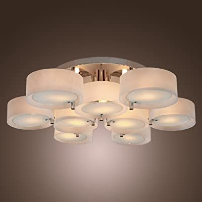 LightInTheBox Acrylic Chandelier with 9 lights, Flush Mount, Modern Ceiling Light Fixture (Chrome Finish)
