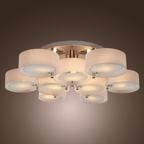 - LightInTheBox Acrylic Chandelier with 9 lights, Flush Mount, Modern Ceiling Light Fixture (Chrome Finish)