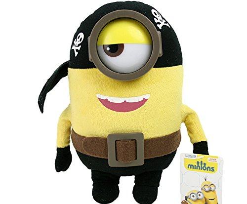 28cm Minions Figura de peluche, minions con Traje y con Gafas de Plástico - Pirata, Pirata