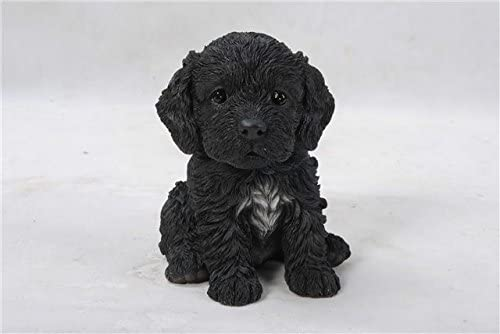Sitting COCKAPOO Puppy Dog Life Like Figurine Statue Home Garden NEW