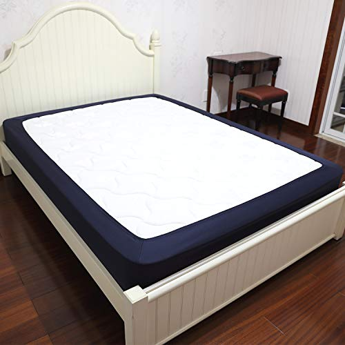 Barossa Design Box Spring Cover Queen Size Wrap Around Elastic Bed Skirt, Easy on Easy Off, Wrinkle Resistant, Hotel Quality (Navy Blue) (Skirts Blue Bed)