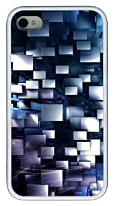 3d geometric pc Case Cover for iPhone 4 and iPhone 4S White New Year gift