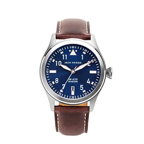 Jack Mason Men's Watch Aviator Dark Brown Italian Leather Strap JM-A101-101