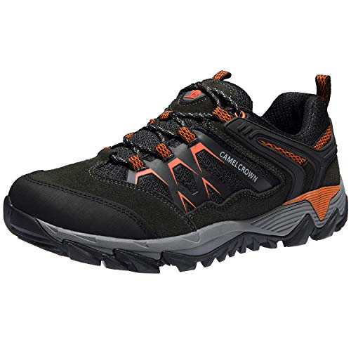 CAMEL CROWN Hiking Shoes Men Breathable Non-Slip Sneakers Lightweight Low Top for Outdoor Trailing Trekking Walking Dark Gray 8.5