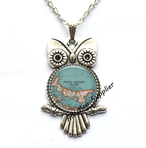AllMapsupplier Charming Owl Necklace,Prince Edward Island map Owl Necklace,Prince Edward Island map Owl Pendant map Jewelry Maritime Provinces Canada,A0131 (1) ()