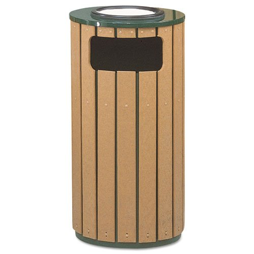 Rubbermaid R23SU50PL Regent 50 Ash/Trash Receptacle, Green Enamel/Brown Cedar Plastic, 12 (Cedar Waste Receptacle)