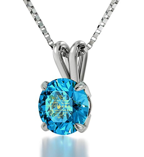 925 Sterling Silver I Love You Necklace Solitaire Pendant 12 Languages in 24k Gold on Blue Crystal, 18'' by Nano Jewelry