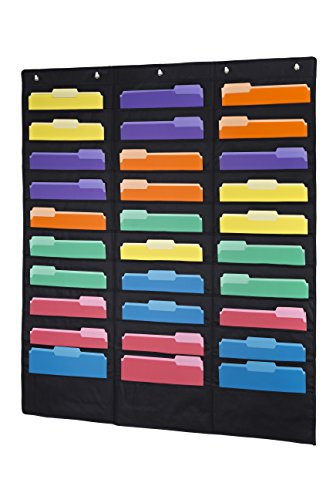 Keri & Joachim Wall File Holder 30 Pocket Hanging File Folder Storage Vertical Wall Chart Organizer Comes with 30 Two-Toned Coloured File Folders Letter Size ⅓ Cut and 6 Heavy Duty Picture Hooks