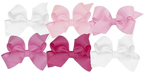 Wee Ones Girls' Mini Bow 6 pc Set Solid Grosgrain Variety Pack on a WeeStay Clip - White, Light Pink, Pearl, Hot Pink, Shocking Pink,One Size