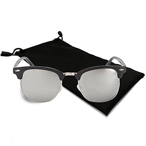 Icejazz Retro Polarized Sunglasses Half Frame Semi-Rimless Flat Glasses Unisex Clubmaster Sun glasses (Silver Frame |Tinted - Sunglass Refund Hut