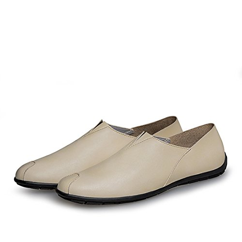Minitoo Boys Mens Solide Slip-On Synthetic Basic Loafers Beige