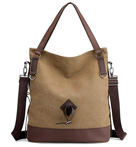 Tom Clovers Canvas Crossbody Messenger Tote Weekender Fashion Bag (Brown A)