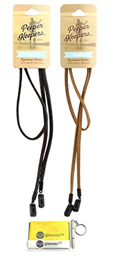 Peeper Keepers Eyeglass Retainer, Sunglass Holder | Leather Retainer | Black and Light Brown, 2pk mix | w/Microfiber Cloth & Screwdriver by Peeper Keepers