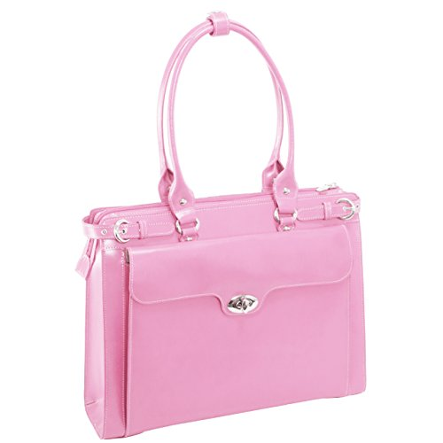 Women's Leather Tote With Removeable Sleeve, Leather, Small, Pink - WINNETKA | (Pink Italian Briefcase)