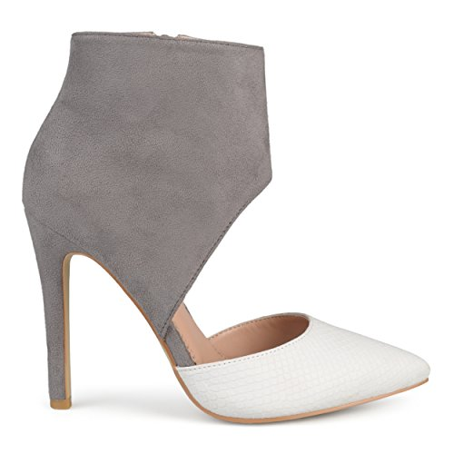 Ankle Cuff Pumps - Brinley Co. Womens Faux Suede Faux Leather Ankle Cuff Two-Tone High Heels White, 7.5 Regular US