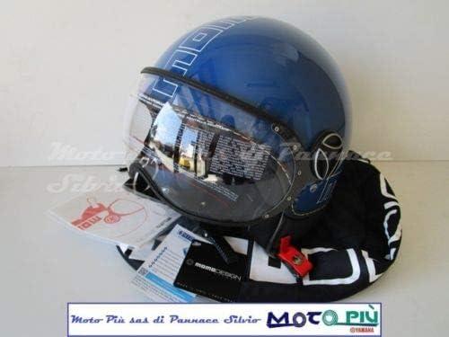 Casque Momo Desing Demin Jet FGTR Glam Bleu Cobalt Outline Blanc Taille ML