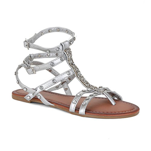 Twisted Women's Daisy Faux Leather Ankle Strap Sandals - SILVER, Size 9