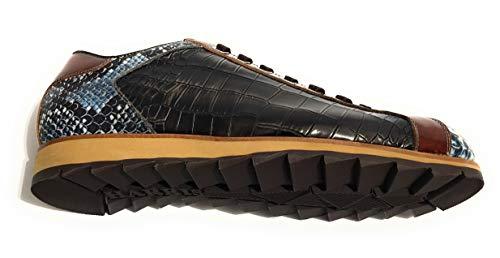 Blu U17ha104 Scarpe Harris Cocco Sneaker Marrone Lino Pelle Stampa shade pitone Uomo Pq8qF