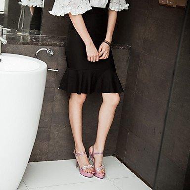 LvYuan Mujer-Tacón Stiletto-Zapatos del club Confort Tira en el Tobillo-Sandalias-Boda Fiesta y Noche Vestido-PU-Rosa Plata Oro Gold