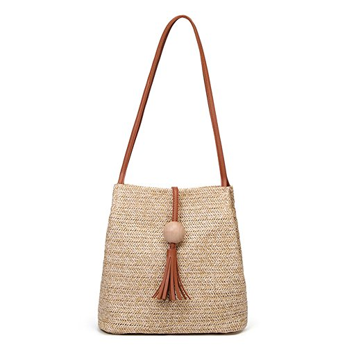 Tassel Handbag Turelifes Bag Beach For Straw Bags Shoulder Weave Summer Hand Brown Women with Totes Crossbody Bucket nAXAPx1q4w