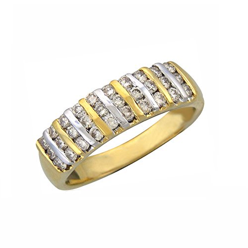 Silvernshine Jewels 0.45 Cts Round Cut Sim Diamond Channel Set Wedding Ring In 14KT Yellow Gold PL 14kt Gold Channel Set Band