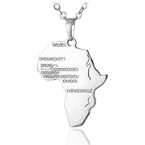 Godyce Africa Map Necklace for Women Jewelry 18K Gold Plated - Gold/Silver-Tone with Gift Box